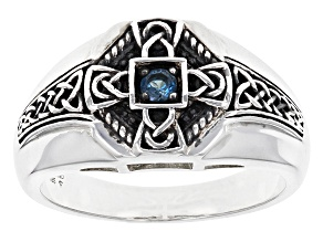 London Blue Topaz Sterling Silver Gents Ring .12ct