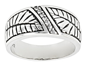 White Zircon Sterling Silver Mens Ring .14ctw