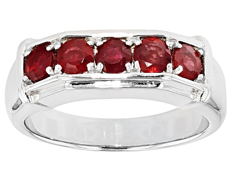 Mahaleo Ruby Sterling Silver Mens Ring 1.64ctw