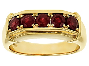 Red ruby 18k yellow gold over silver gent's ring 1.64ctw