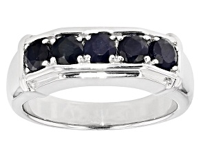 Blue Sapphire Sterling Silver Gents Wedding Band Ring 1.66ctw