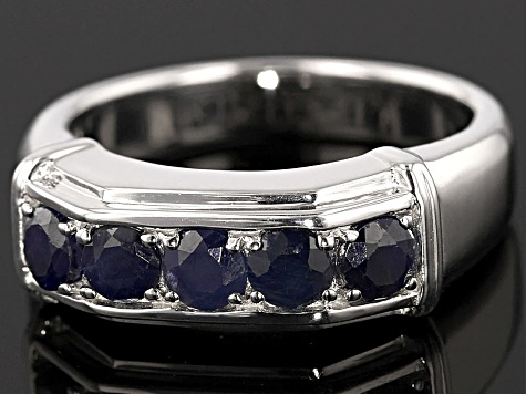 Blue Sapphire Rhodium Over Sterling Silver Gents Wedding Band Ring 1.66ctw