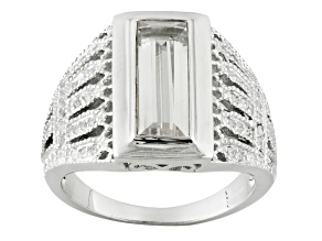 White Topaz Sterling Silver Mens Ring 3.18ctw