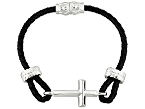 Braided Leather Strap Sterling Silver Cross Bracelet
