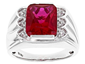 Red Lab Created Ruby Rhodium Over Sterling Silver Mens Ring 5.27ctw