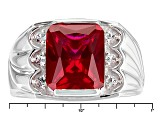 Red Lab Created Ruby Sterling Silver Mens Ring 5.27ctw