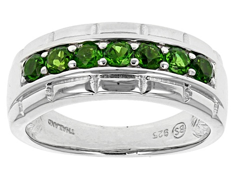 Green Russian Chrome Diopside Sterling Silver Gents Wedding Band Ring .86ctw