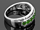 Green Russian Chrome Diopside Rhodium Over Sterling Silver Gents Wedding Band Ring .86ctw