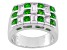 Green Russian Chrome Diopside Sterling Silver Mens Band Ring 2.99ctw