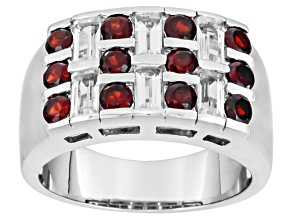 Red Garnet Rhodium Over Sterling Silver Mens Band Ring 2.94ctw
