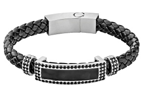 Black spinel sterling silver mens bracelet 2.67ctw