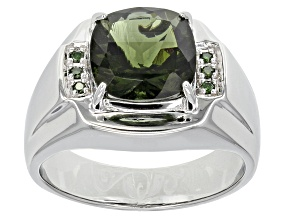 Green Moldavite Silver Mens Ring. 2.73ctw