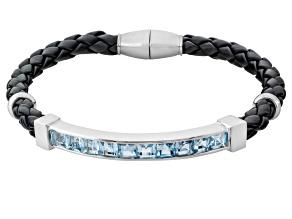 Sky Blue Topaz Sterling Silver Mens Bracelet 7.41ctw