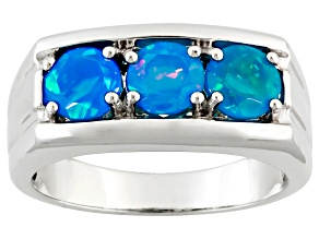 Paraiba Blue Color Ethiopian Opal Silver Mens Ring. 1.02ctw