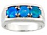 Paraiba Blue Color Ethiopian Opal Rhodium Over Sterling Silver Mens Ring. 1.02ctw