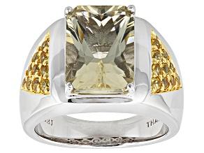 Yellow Labradorite Two-Tone Sterling Silver Mens Ring 6.16ctw