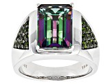Green Mystic® Topaz Silver Mens Ring 8.21ctw