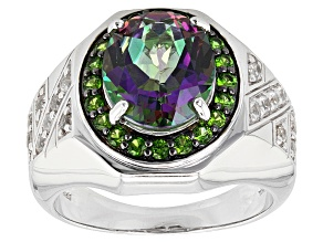 Mystic® Green Topaz Rhodium Over Sterling Silver Mens Ring 5.86ctw