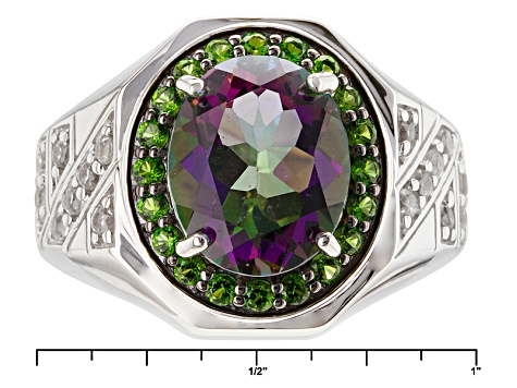 Mystic® Green Topaz Sterling Silver Mens Ring 5.86ctw