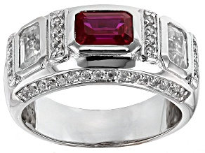 Red Lab Created Ruby Sterling Silver Mens Ring 3.82ctw