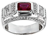 Red Lab Created Ruby Rhodium Over Sterling Silver Mens Ring 3.82ctw