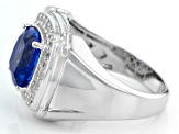 Blue Color Change Fluorite Sterling Silver Mens Ring 6.03ctw