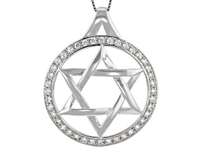 "White zircon sterling silver ""Star of David"" mens pendant with chain 2.00ctw"
