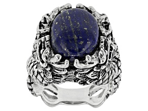 Blue Lapis Lazuli Sterling Silver Mens Dragon Ring