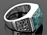 Blue Turquoise Sterling Silver Mens Ring