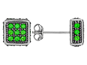 Green Russian Chrome Diopside Rhodium Over  Sterling Silver Earrings .92ctw