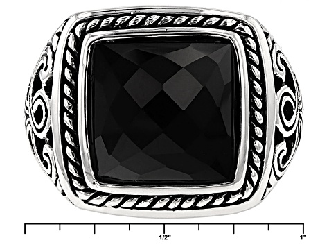 Black Onyx Sterling Silver Mens Ring.