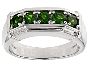 Green Chrome Diopside Sterling Silver Gent's Wedding Band Ring 1.25ctw