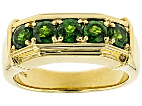 Green Chrome Diopside 18k Yellow Gold Over Sterling Silver Gent's Wedding Band Ring 1.25ctw