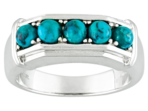Blue Turquoise Sterling Silver Gent's Wedding Band Ring