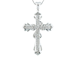 White Zircon Rhodium Over Sterling Silver Mens Cross Pendant With Chain 2.97ctw
