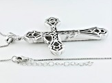 White Zircon Sterling Silver Mens Cross Pendant With Chain 2.97ctw