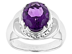 Purple Amethyst Sterling Silver Mens Ring. 3.69ct