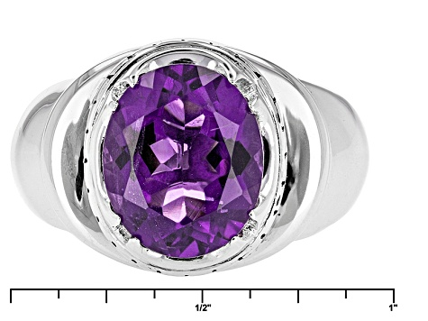 Purple Amethyst Rhodium Over Sterling Silver Mens Ring. 3.69ct