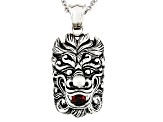 Red Garnet Mens Sterling Silver Pendant With Chain