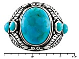 Blue Turquoise Sterling Silver Mens Ring.