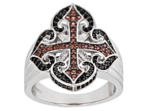 Red Garnet Sterling Silver Mens Cross Ring 1.09ctw
