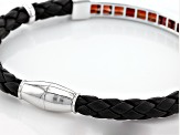 Red Garnet Leather And Silver Mens Bracelet 5.95ctw