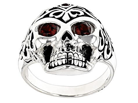 Red Garnet Rhodium Over Sterling Silver Mens Skull Ring .57ctw