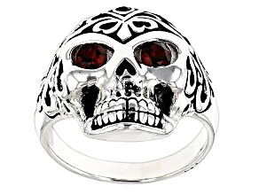 Red Garnet Sterling Silver Mens Skull Ring .57ctw