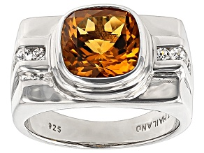 Yellow Citrine Rhodium Over Sterling Silver Mens Ring 3.91ctw