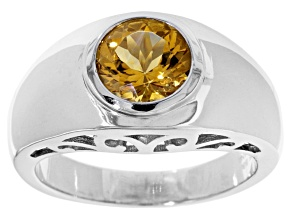 Yellow Citrine Sterling Silver Mens Ring 1.47ct