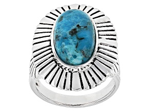 Blue Turquoise Sterling Silver Men's Ring