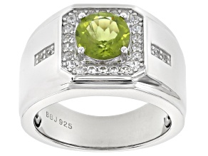 Green Peridot Rhodium Over Sterling Silver Mens Ring 2.92ctw