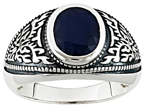 Blue Sapphire Solitaire Sterling Silver Mens Ring 2.72ctw