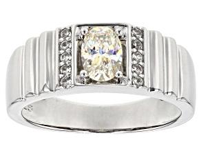 White  Fabulite Strontium Titanate Sterling Silver Mens Ring 1.01ctw